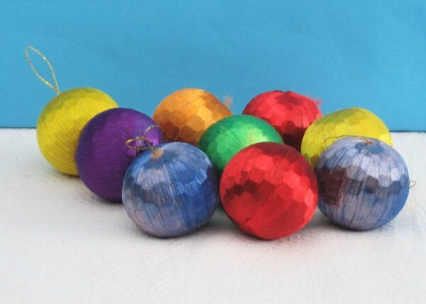 Vintage Christmas Tree Decorations Silk Baubles x9 Multicoloured Disco Ball 70s-80s
