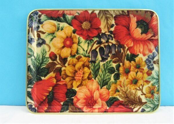 Vintage Fibreglass Tray Spring Flowers Rectangular Medium Sized 60s 70s