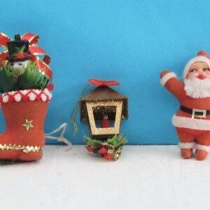 Vintage Set of 3 Flock Christmas Tree Decorations Santa Lantern Snowman 70s 80s