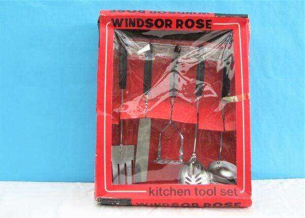 Vintage Kitchen Utensils Set 6 Pieces Boxed Windsor Rose Made in Japan 60s 70s
