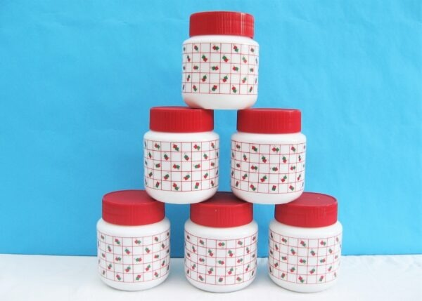 Vintage Pyrex Green Red Squares Storage Jars Canisters x6 1980s